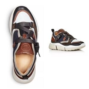 Chloe Sonnie Mixed-Media Low Top Sneakers